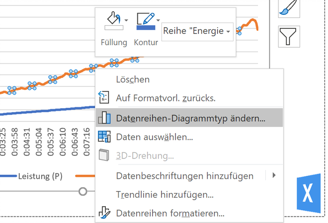 Excel Insights: Screenshot Datenreihen-Diagrammtyp ändern